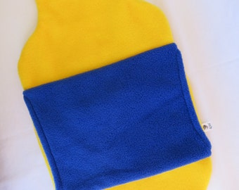 Hot Water Bottle Cover in Yellow polar fleece with blue hand warmer