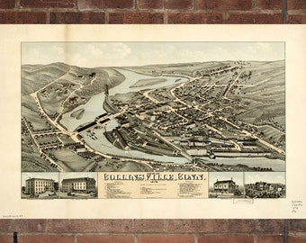 Collinsville Connecticut Vintage Print Poster Map 1878 Poster of CT Map Art Wall Decor