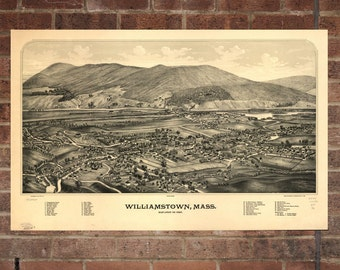 Vintage Williamstown Print, Aerial Williamstown Photo, Vintage Williamstown MA Pic, Old Williamstown Pic, Williamstown Massachusetts Poster