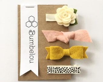 Hair Clip Sets - Ivory Rose - Peach knot - Mustard Bow - Dotty Clip
