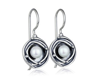 Pearl Earrings, Silver Pearl Drop Earrings, Round, Vintage Look, 925 Sterling Silver, Bridal, Wedding Jewelry, Bridesmaid Gift X335