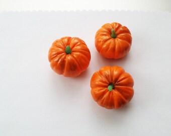 3 Dollhouse miniature pumpkins