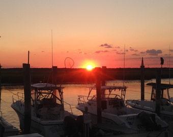 Sunset with Boats Wildwood, NJ
