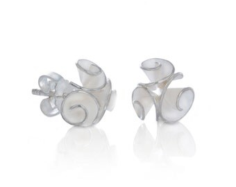 Silver roses studs, with three roses