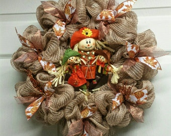 Scarecrow Fall Wreath, Fall Mesh Wreath, Mesh Wreath, Scarecrow Wall Hanging, Fall Decor, Fall Wreath, Autumn Decor
