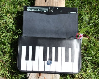 leather clutch, handmade clutch, handpainted clutch, leather purse, black genuine leather purse
