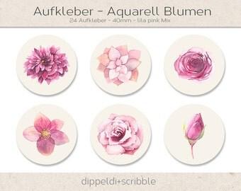 Sticker watercolor flowers