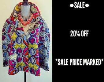 On Sale Women's Cape | Ankara Print ABíKE CAPE Jacket with Removable Faux Fur Collar