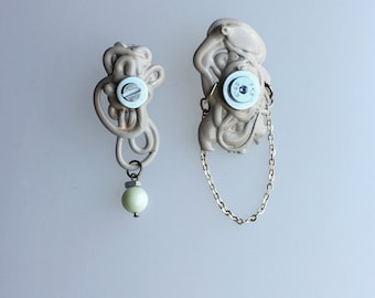 Mellow. handmade melted plastic earrings with Swarovski pearls No 0309