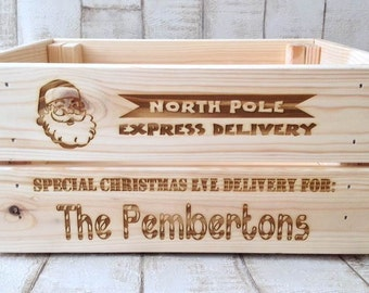 Personalised Christmas eve crate Christmas Eve gift box laser engraved