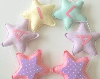 Personalised Bunting Garland, Pastel Stars, baby girl nursery decoration, Pastel bunting, girls name bunting, name garland