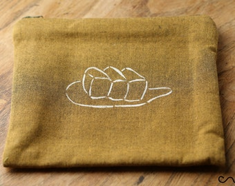 18cm Handmade Make up / Change purse /Zipper Pouch Card Wallet Gift Handprinted Bread  on Gold Fabric