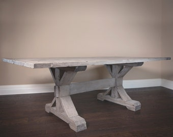Solid Wood X-Base Trestle Table in Salvaged Gray