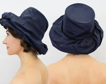 50s Navy Wide Brim Hat | Navy Silk Taffeta Hat | Evelyn Varon