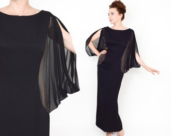 60s Black Evening Gown | Estevez Silk Chiffon Batwing Formal Dress |  Luis Estevez | Small