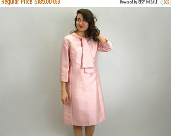 Summer SALE 60s Pink Silk Shift Dress | Jackie O Style | Mad Men | Medium