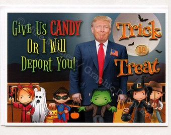 Funny Halloween Card, Halloween Card, Donald Trump, Halloween Party, Greeting Card, Funny Holiday Card, Funny Birthday Card, Gift, For Him