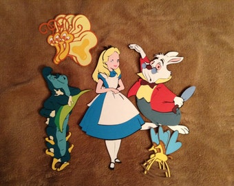 Alice in wonderland, white rabbit, caterpillar, flying butterflies, flying horseflies