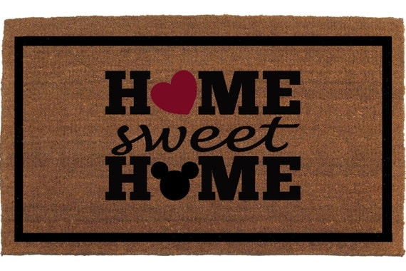 Mickey Mouse Home Sweet Home Door Mat Coir By Franklinandfigg