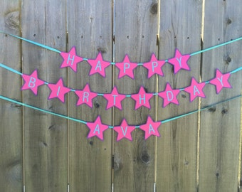 Pink, purple and aqua rock star birthday banner