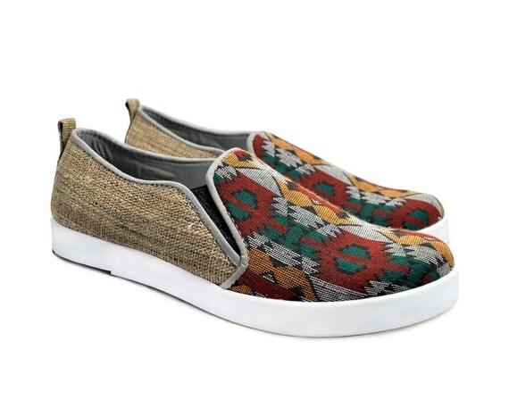 boho shoes hemp shoes pattern shoes slip ons shoes aztec