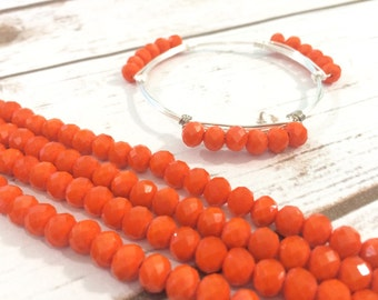 6mm Matte Orange Glass Crystals - Set of 18 Beads for Wire Bangle Bracelet - Bright Orange Faceted Beads