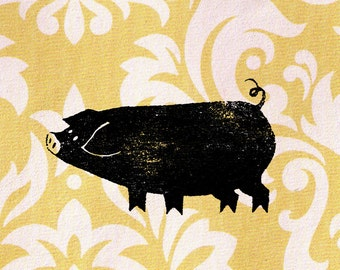 Pig Stamp, Graphic Pig Stamp: Wood Mounted Pigglet Rubber Stamp