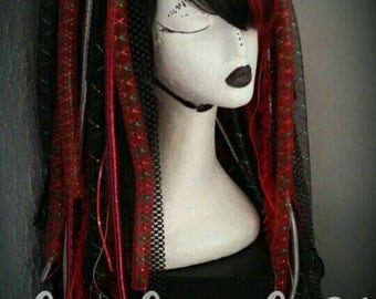 Red and black cyberlox dread wig