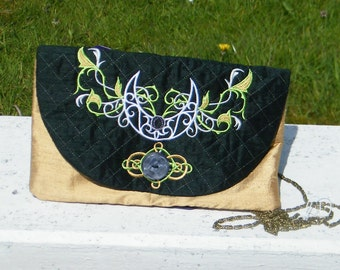 Embroidered Silk Evening Bag with moon design