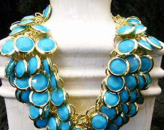 Turquoise Disc Bib Necklace Set