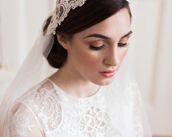 Bridal veil, juliet cap veil, chapel length, ivory, venise lace SALE LIMITED TIME
