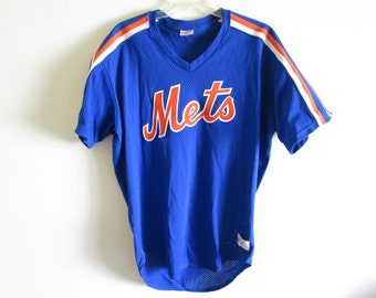 Vintage 80's New York Mets Pullover v-neck Rawlings jersey | Large | Made in USA