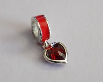 Brand New: Genuine sterling silver red pave heart and enamel dangle charm bead, european DIY bracelet
