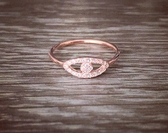 """Rose gold plated 925 Sterling silver """"Evil eye"""" ring with Clear white CZ crystals"""
