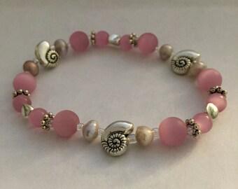 Pink Nautilus Shell & Pearl Bracelet