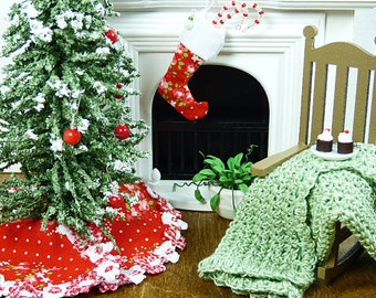 Christmas Stocking Dollhouse Miniature Christmas Decoration Red Floral DollsHouse Holiday Accessory Decorator Fairy Garden 12 Scale Room Box