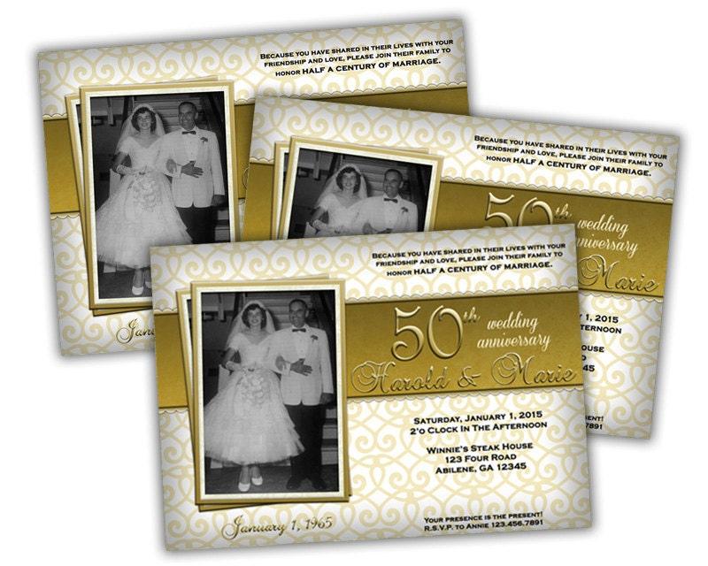 Golden Wedding Anniversary Invites: Printable Golden 50th Anniversary Party Invite 50th Wedding