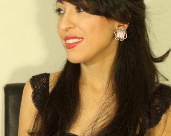 Lavendar Square Clip On Earrings