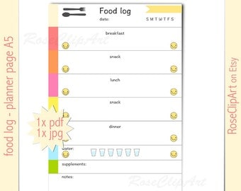 food log A5 - instant download - printable food tracker - planner page - commercial use allowed - healthy eating journal - eating disorder