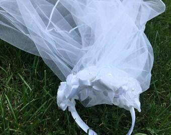 Girls headpiece -Flowergirl - communion- floral headpiece -bride crown- bachelorette tiara-bachelorette veil-weddings-bride-headpiece with v
