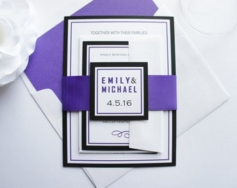 Purple and Black Wedding Invitations, Purple Wedding Invitation, Modern, Fun, Purple Invitations, Wedding Invites, Belly Band - SAMPLE SET
