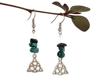 Chrysocolla earrings, pagan jewelry, wiccan earring, turquoise stone jewelry, silver dangle earrings pagan wiccan jewelry stone earring tryn