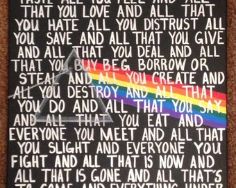 Hand painted Pink Floyd Lyrics