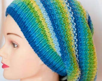 striped/cabled slouch hat