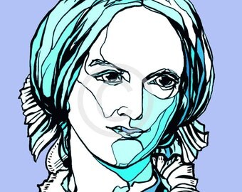 Charlotte Bronte, handmade portrait of Yorkshire writer, author of Jane Eyre, novelist extraordinaire. Limited edition art print