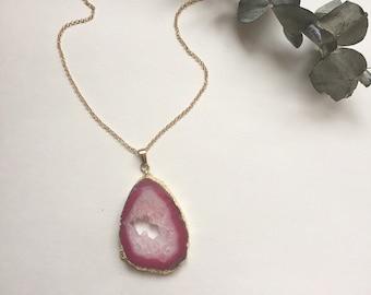 Pink Agate Geode Slice Necklace // Long Pink Gemstone Crystal Necklace