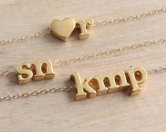 Personalized Initial Necklace, Couple initials Necklace, Letter Necklace, Gold Letter Necklace, Gold Initial Necklace, Personalized Jewelry