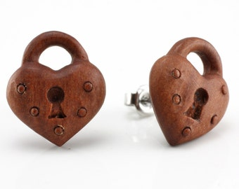 "Hand Carved- ""Heart Lock"" - Wood Stud Earring - Freedom"