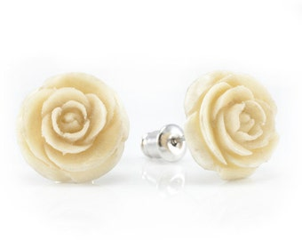 "Hand Carved - ""White Rose"" - Wood Stud Earring - Urban Flowers"