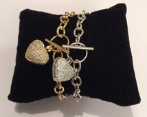 Heart bracelet, Cz silver heart bracelet, Charms Bracelet, birthday gift, Friendship Bridesmaid Bracelet, pave heart bracelet, gift for her